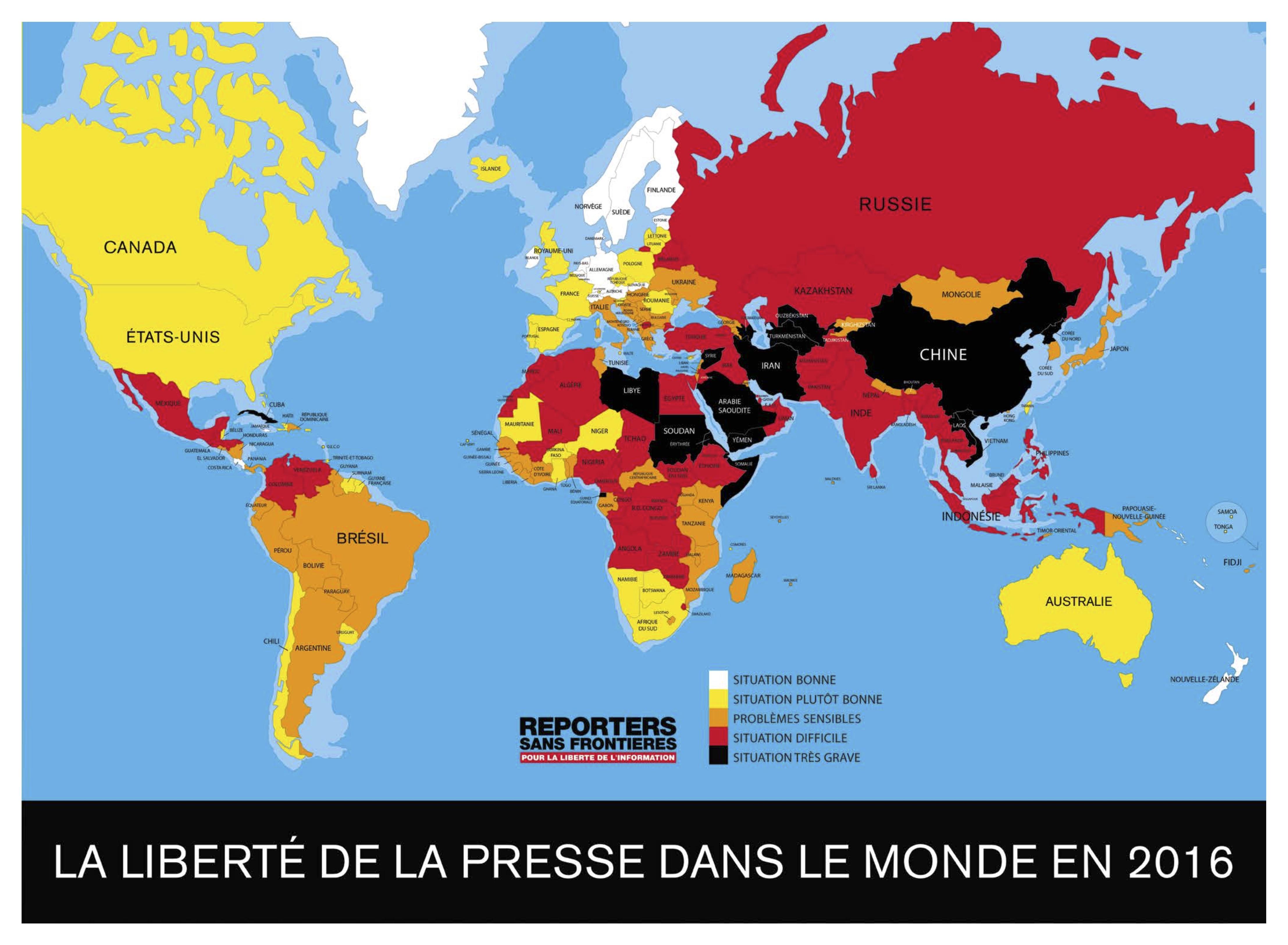 Classement mondial de la liberté de la presse 2016 : la paranoïa des dirigeants contre les journalistes